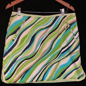 Lizgolf 12 funky skorts stripes green blue white